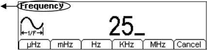 the knob to change its value. Current Parameter: Frequency Figure 2-5 Setting the Frequency Instruction: When