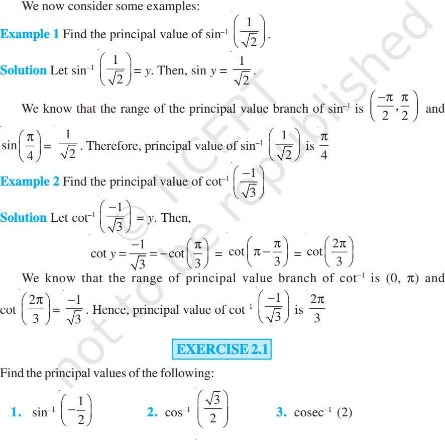 We now consider some examples:  1  Example 1 Find the principal value of