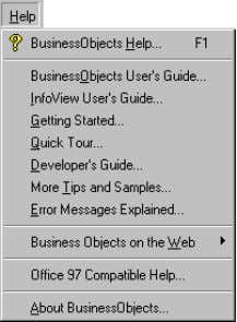 you can open a guide from the commands of the Help menu. The Help menu of