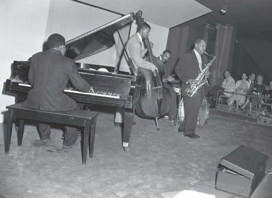 Freddie Redd, Paul Chambers, Art Taylor and Coleman Hawkins, 2 July 1955 (photograph by Warren