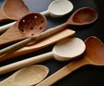 piano wires which are twisted together to form the handle. Wooden spoons are used for creaming,
