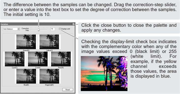 The difference between the samples can be changed. Drag the correction-step slider, or enter a