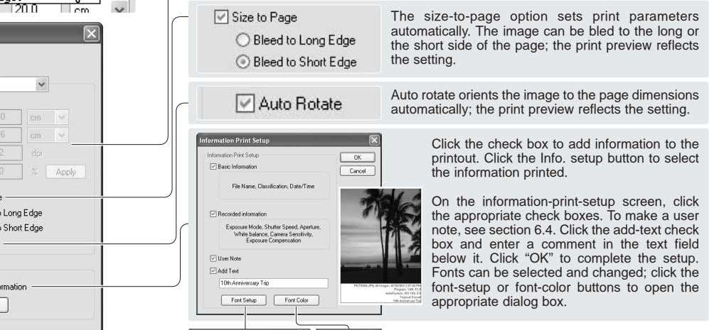 The size-to-page option sets print parameters automatically. The image can be bled to the long