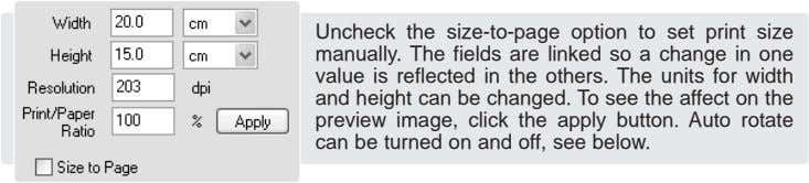 Uncheck the size-to-page option to set print size manually. The fields are linked so a