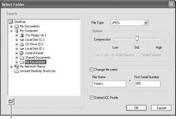 text boxes. Click processing. the OK button to begin batch New-folder button An ICC profile is