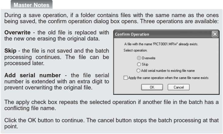 Master Notes During a save operation, if a folder contains files with the same name