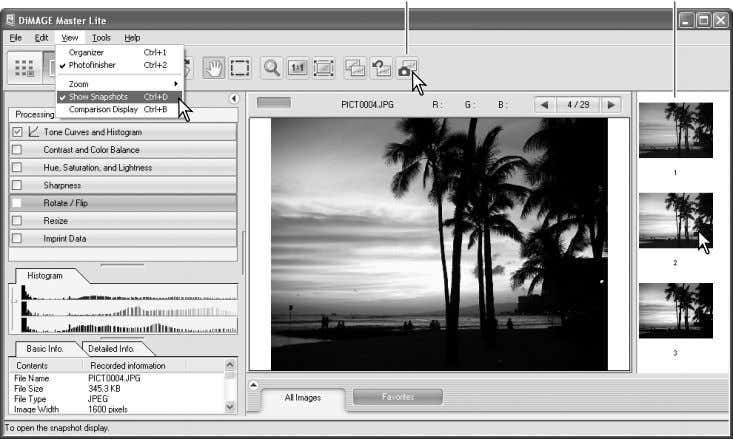 image processing. Snapshot button Snapshot display area Click and drag over the area of the image