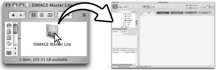 DiMAGE Master Lite icon to start up the application. The Organizer window is displayed. 4 SECTION