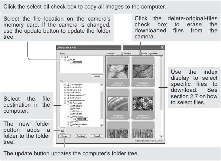 Click the select-all check box to copy all images to the computer. Select the file