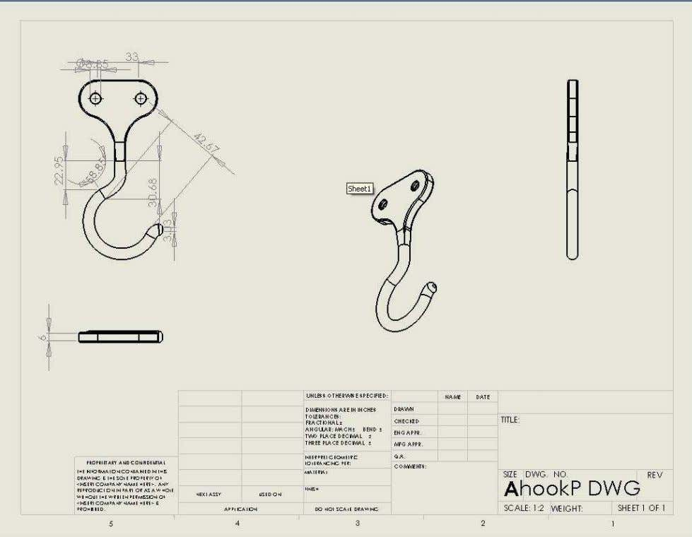 31 Appendix A Engineering drawing of custom made parts Hook