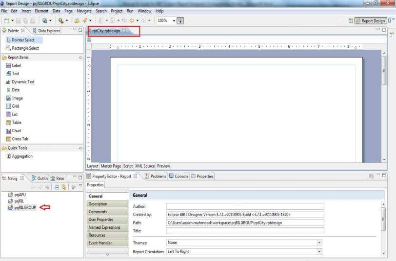 layout editor. The layout editor shows an empty report page Blank report design Prepared by: Mian