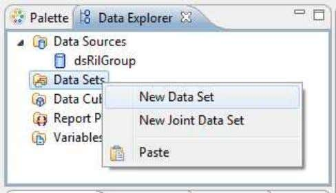 Set folder and select New Data Set from the context menu 1- In Data Explorer, right-click