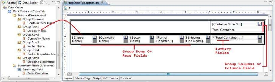 area that displays, Drop data field(s) to be summarized here Inserting data in the cross tab