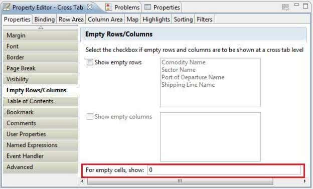 Ltd. User Manual Guide of ECLIPSE BIRT (Report Designer) Empty Rows/Columns properties of the cross tab