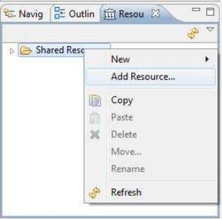 right-click Shared Resources, then choose Add Resource Choose Add Resource 2 - In Add Resource, specify