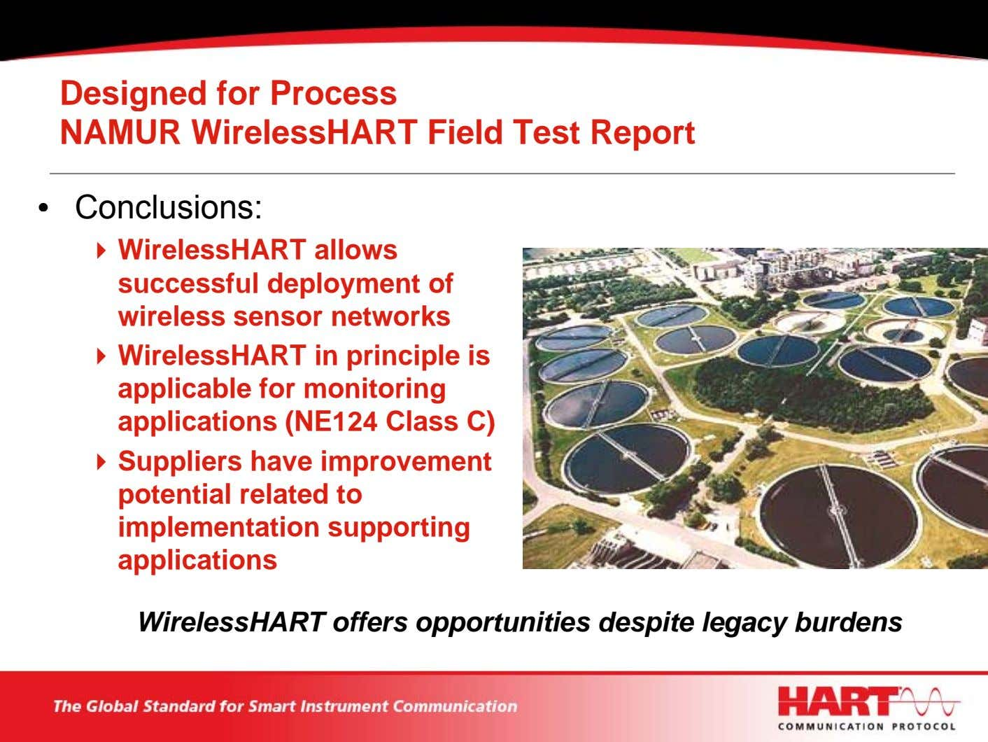 Designed for Process NAMUR WirelessHART Field Test Report • Conclusions: WirelessHART allows successful deployment