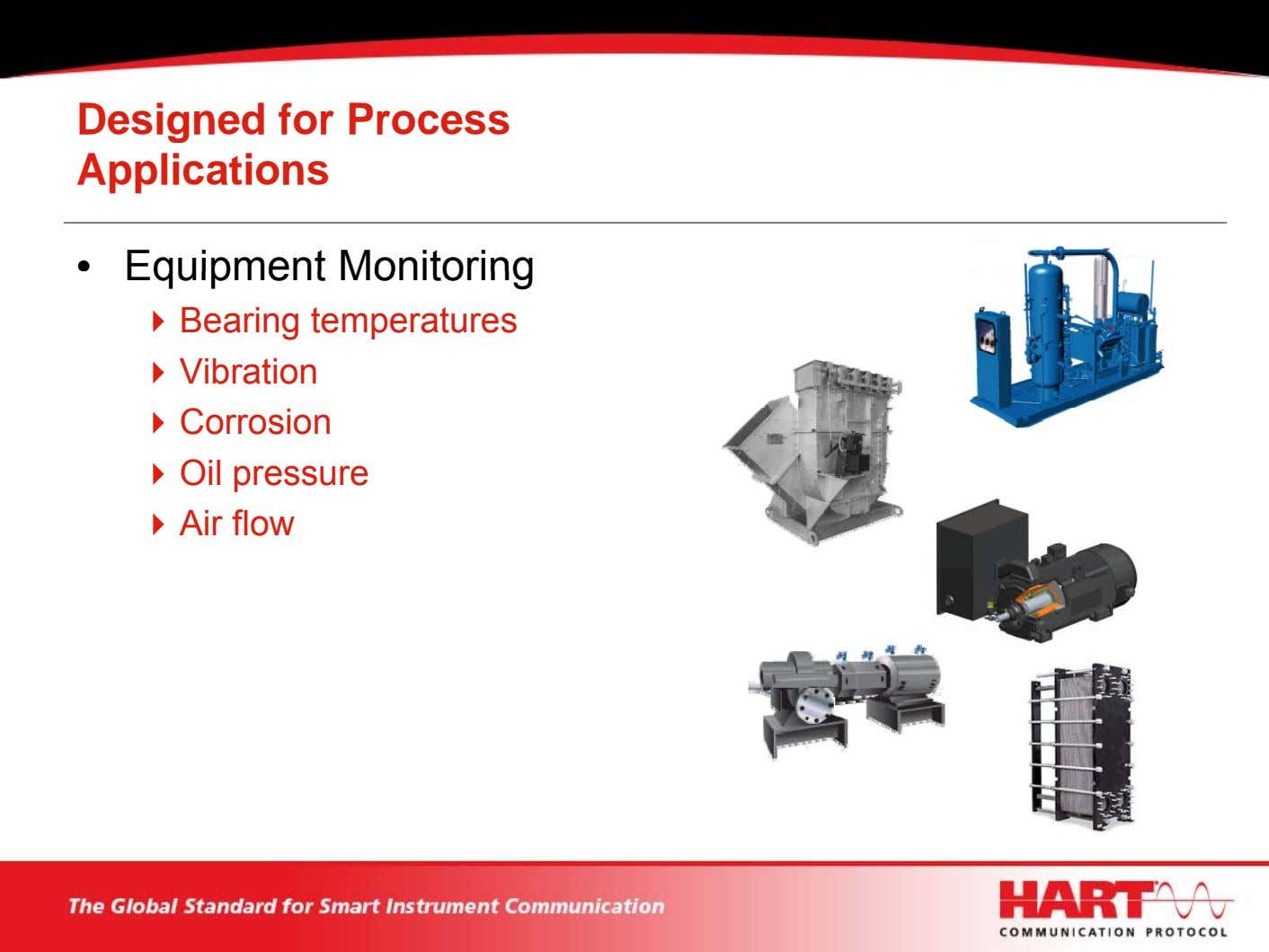Designed for Process Applications • Equipment Monitoring Bearing temperatures Vibration Corrosion Oil pressure