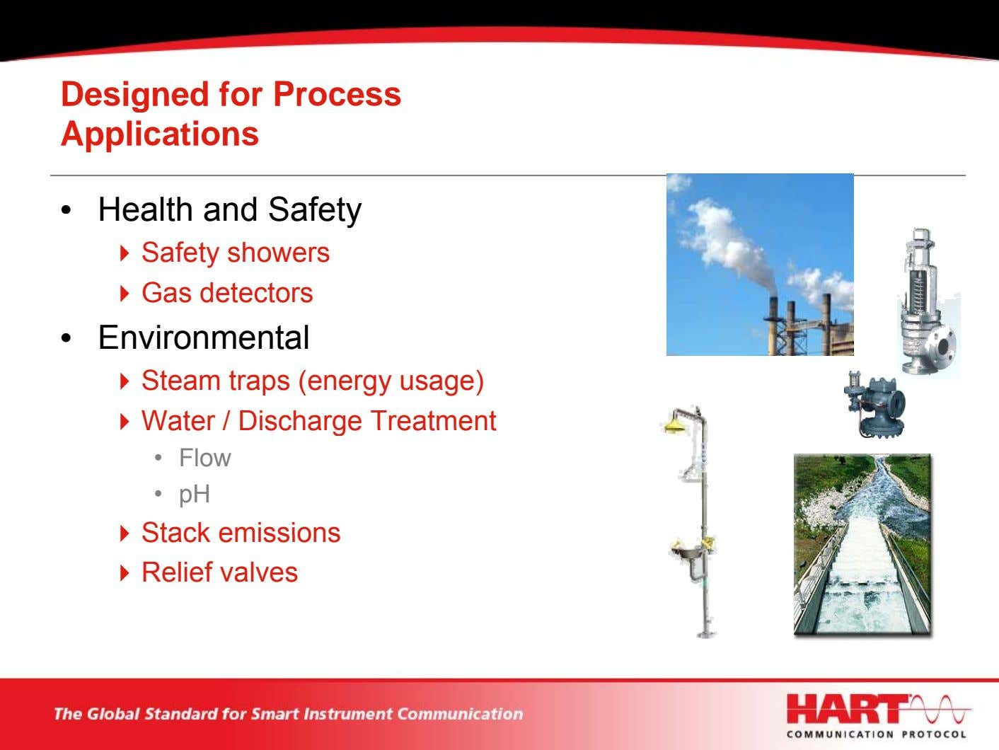 Designed for Process Applications • Health and Safety Safety showers Gas detectors • Environmental Steam