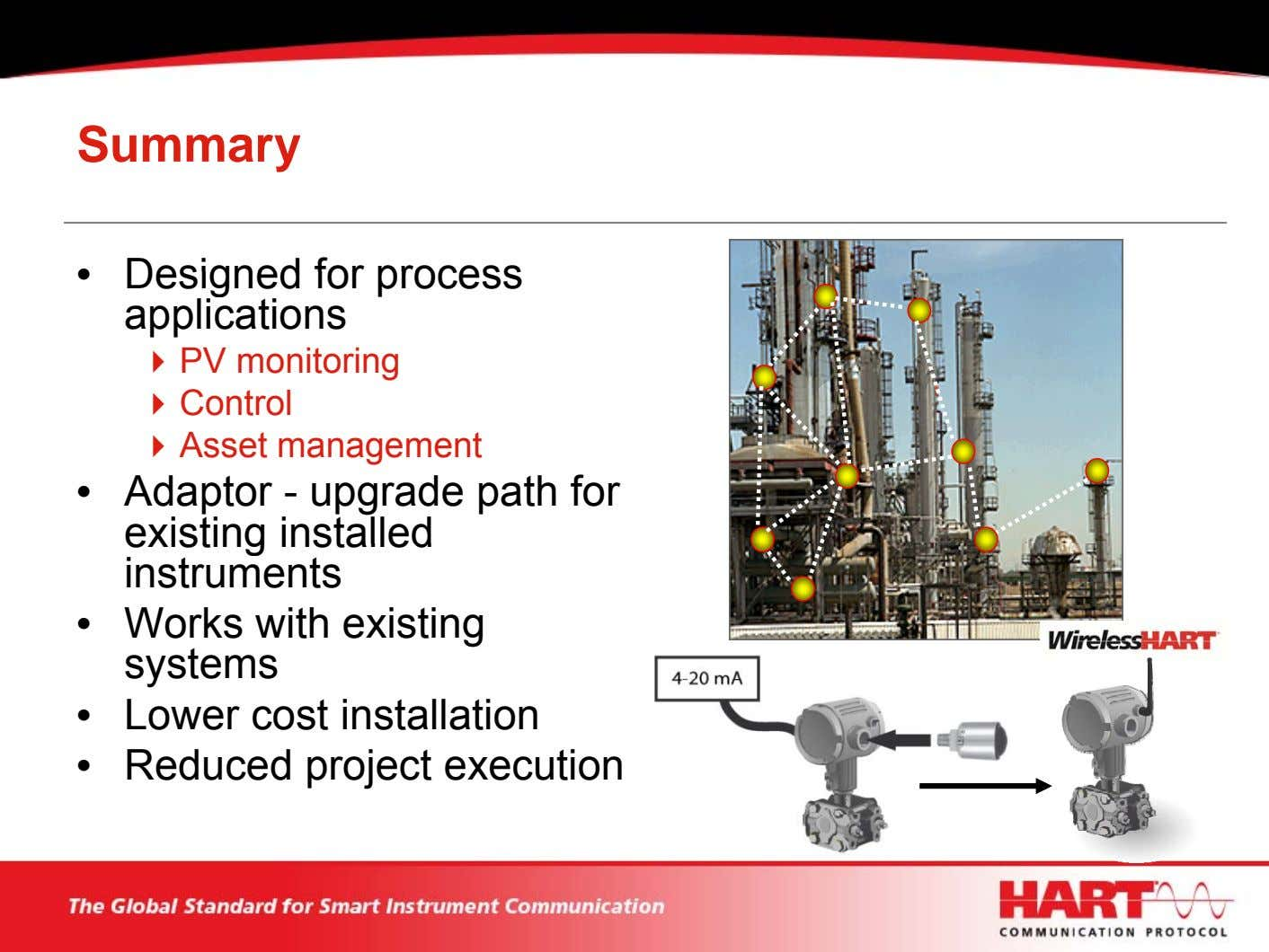 Summary • Designed for process applications PV monitoring Control Asset management • Adaptor - upgrade