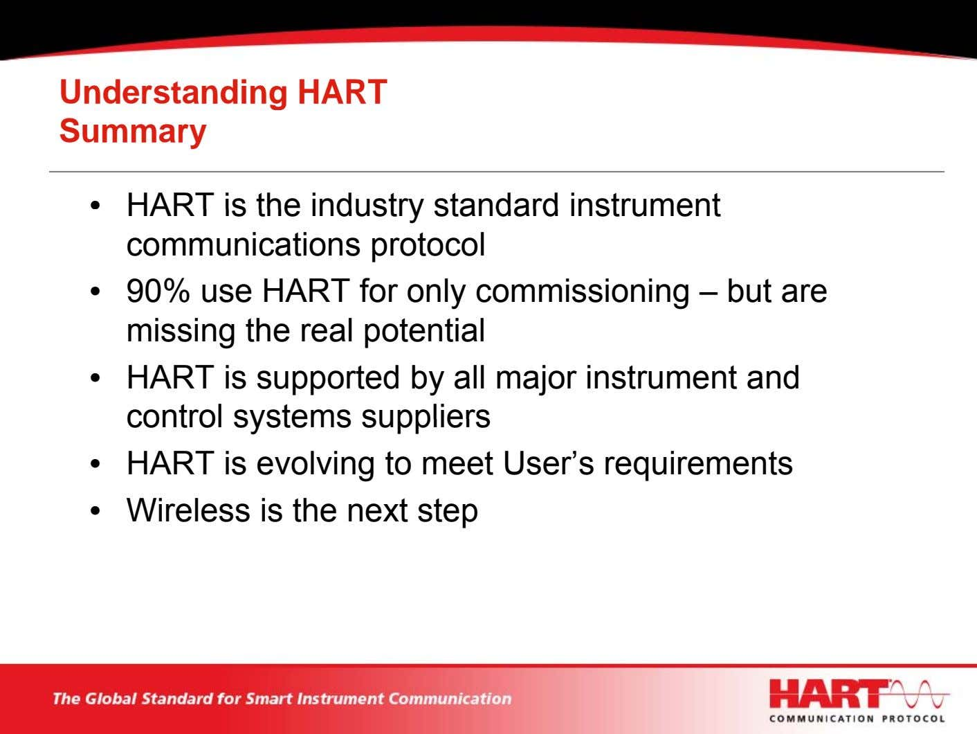 Understanding HART Summary • HART is the industry standard instrument communications protocol • 90% use