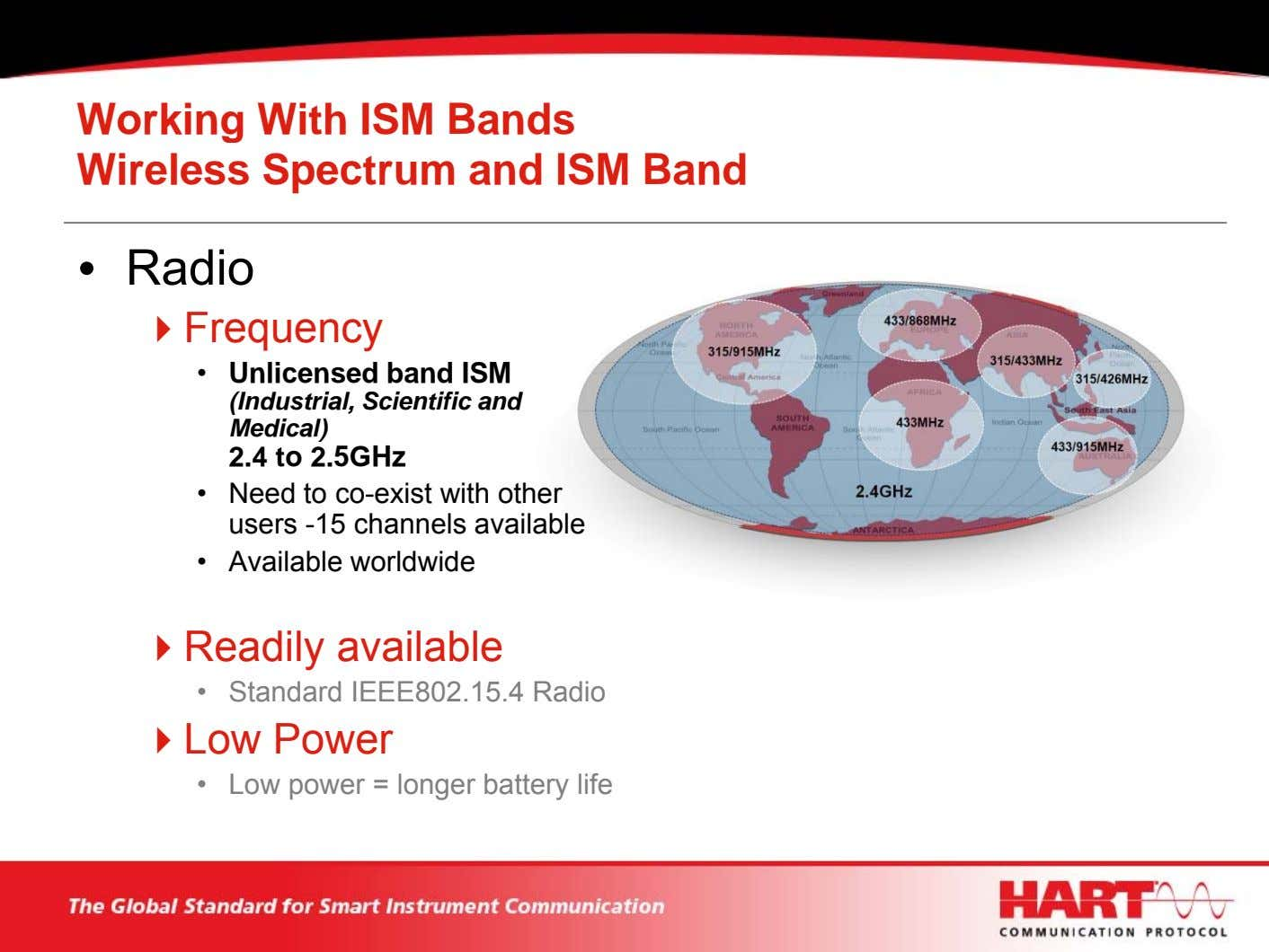 Working With ISM Bands Wireless Spectrum and ISM Band • Radio Frequency • Unlicensed band