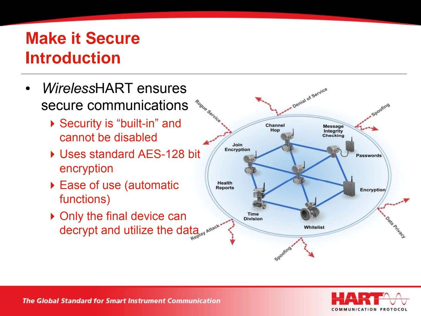 "Make it Secure Introduction • WirelessHART ensures secure communications Security is ""built-in"" and cannot be"