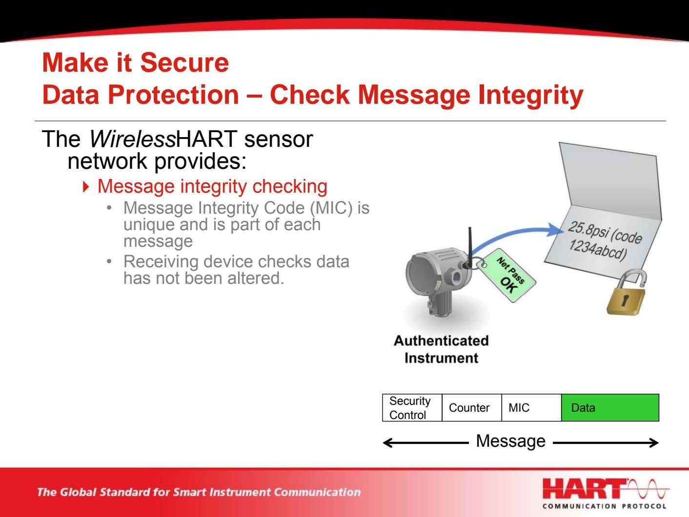 Make it Secure Data Protection – Check Message Integrity The WirelessHART sensor network provides: Message
