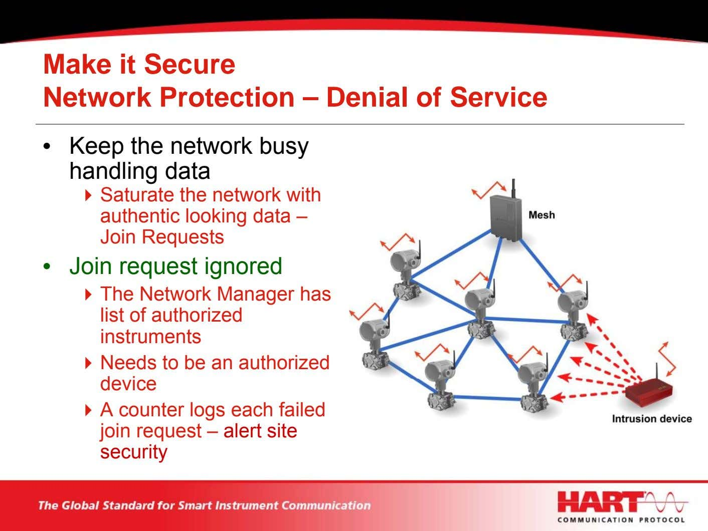 Make it Secure Network Protection – Denial of Service • Keep the network busy handling