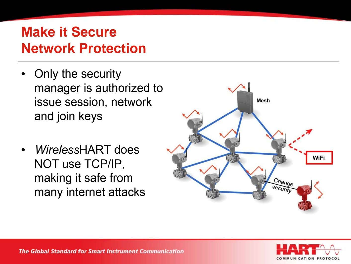 Make it Secure Network Protection • Only the security manager is authorized to issue session,