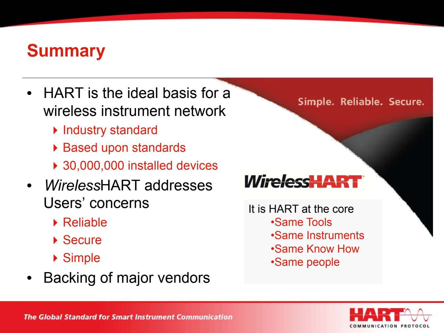 Summary • HART is the ideal basis for a wireless instrument network Industry standard Based