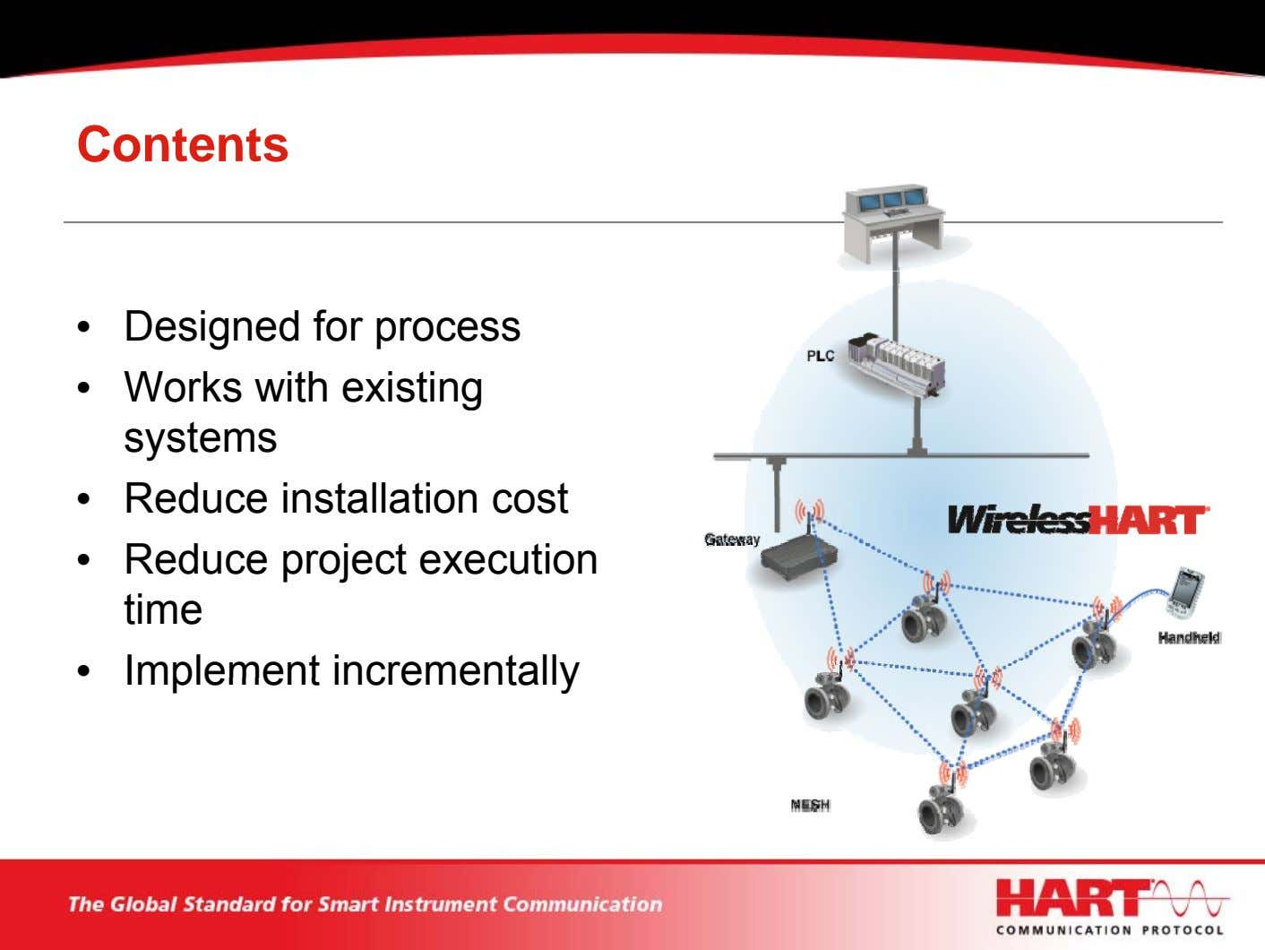 Contents • Designed for process • Works with existing systems • Reduce installation cost •