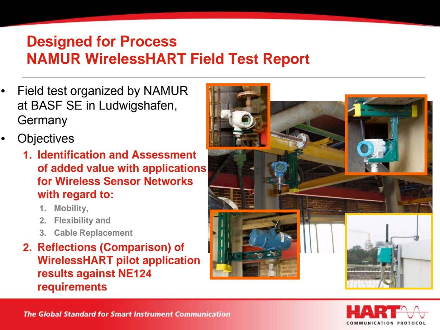 Designed for Process NAMUR WirelessHART Field Test Report • Field test organized by NAMUR at
