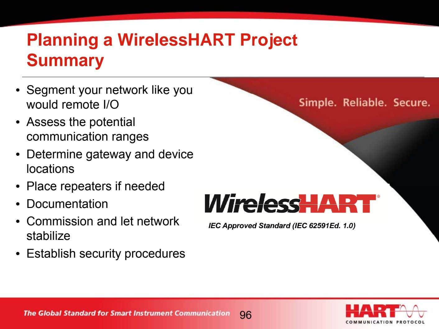 Planning a WirelessHART Project Summary • Segment your network like you would remote I/O •