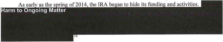 of 2014, the IRA be an to hide its fundin and activities .