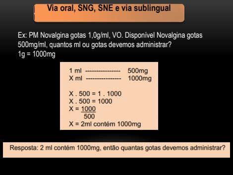 Via oral, SNG, SNE e via sublingual Ex: PM Novalgina gotas 1,0g/ml, VO. Disponível Novalgina