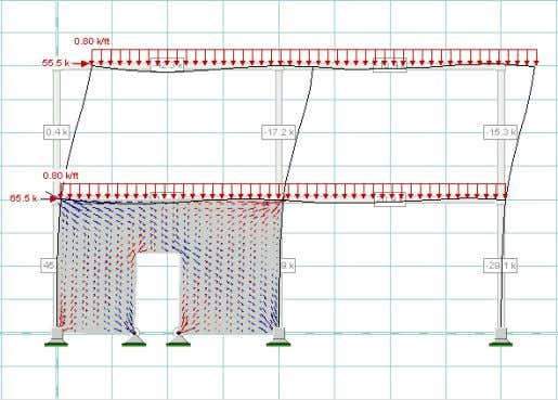 Bracing the frame with a shear wall, notice the effect of the wall opening (ref: