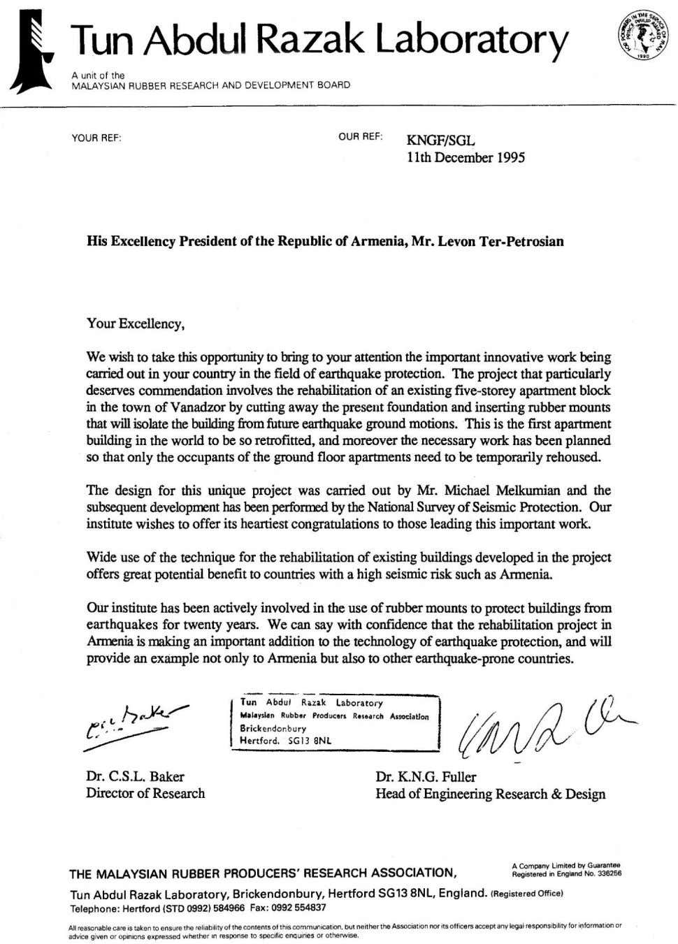"Development (IJTSRD) @ www.ijtsrd.com eISSN: 2456-6470 Fig. 1. The letter from ""The Malaysian Rubber Producer's"