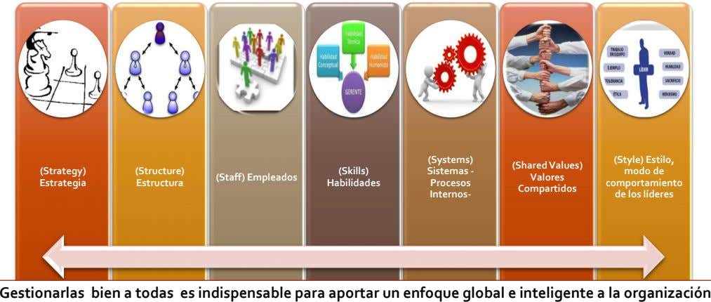 (Systems) (SharedValues) (Strategy) (Structure) (Skills) Sistemas - (Staff) Empleados Valores Estrategia Estructura Habilidades Procesos (Style) Estilo,