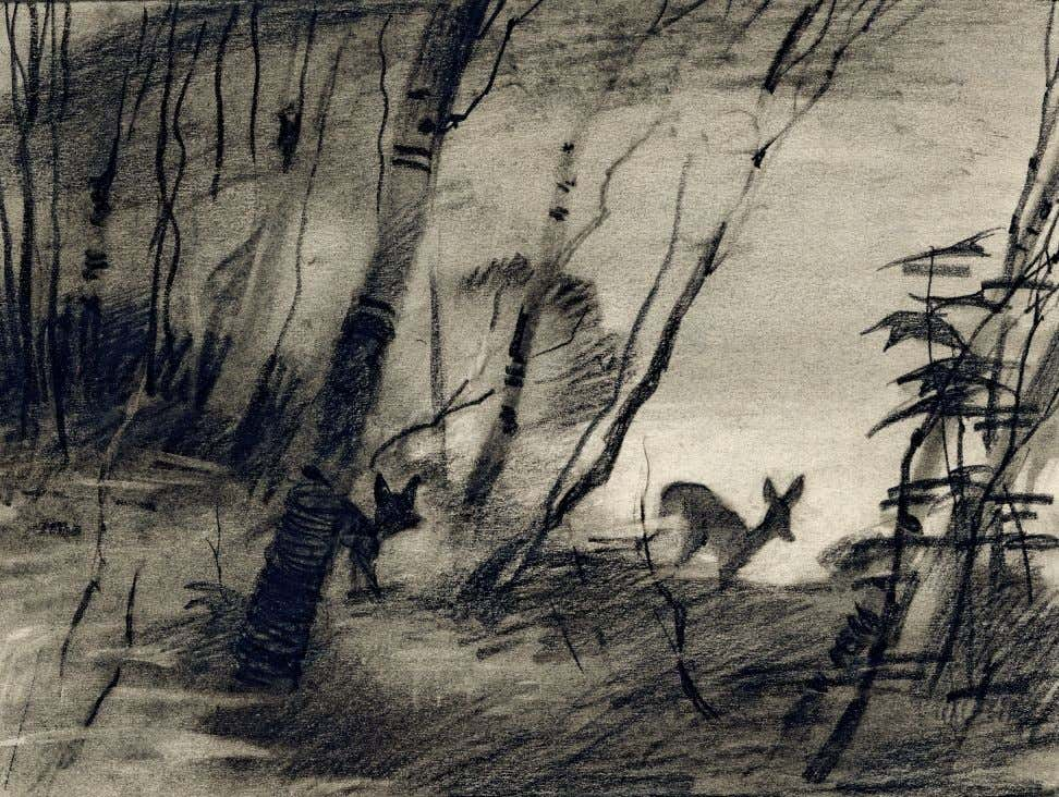 46 WATER TO PAPER, PAINT TO SKY ABOVE Visual development, Bambi 1942 charcoal on paper