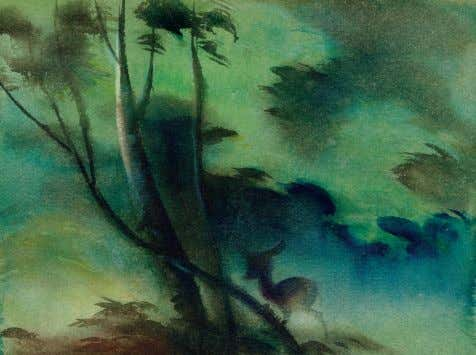 there are some beautiful 52 WATER TO PAPER, PAINT TO SKY TOP Visual development, Bambi 1942