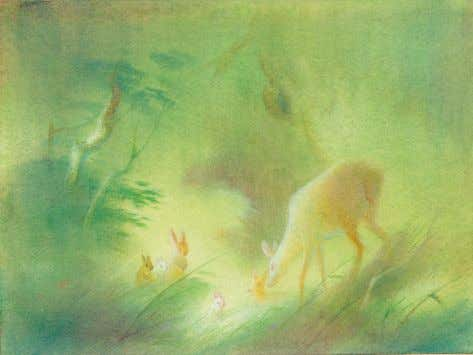 Visual development, Bambi 1942 watercolor on paper TOP 4 1 ⁄ 8 x 5½ inches