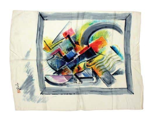 TOP Abstract c. 1940 paint on silk scarf | 28 x 36 inches BOTTOM Salesman's