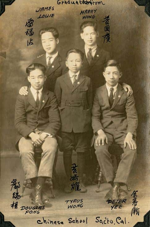 Tyrus Wong with fellow students, Chinese school, Sacramento, CA c. 1922 photograph Tyrus Wong (in