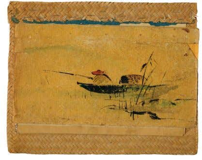 Fisherman, Dragon's Den menu cover c. 1935 watercolor on paper and rattan | 10 1