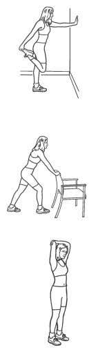 that all stretches must be done for both sides of your body. 1. Quadriceps Stretch Stand