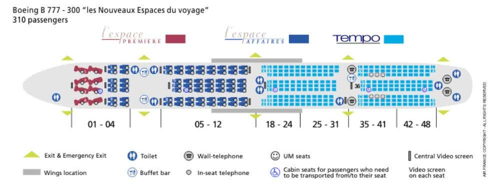 Air France and KLM Royal Dutch Airlines Malaysia Air France Seat Map Issued 02 July 2009
