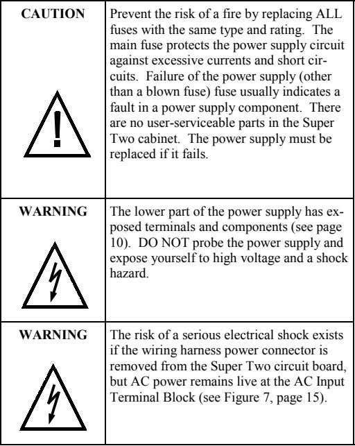 CAUTION Prevent the risk of a fire by replacing ALL fuses with the same type and