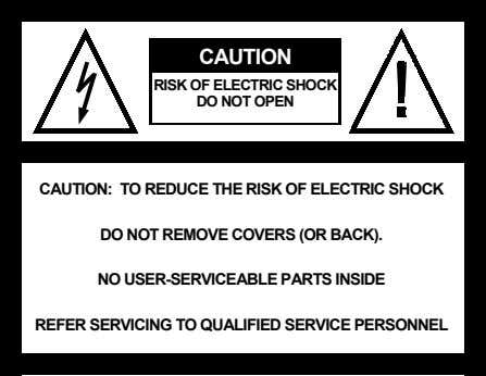 CAUTION: TO REDUCE THE RISK OF ELECTRIC SHOCK DO NOT REMOVE COVERS (OR BACK). NO USER-SERVICEABLE