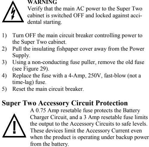 WARNING Verify that the main AC power to the Super Two cabinet is switched OFF and