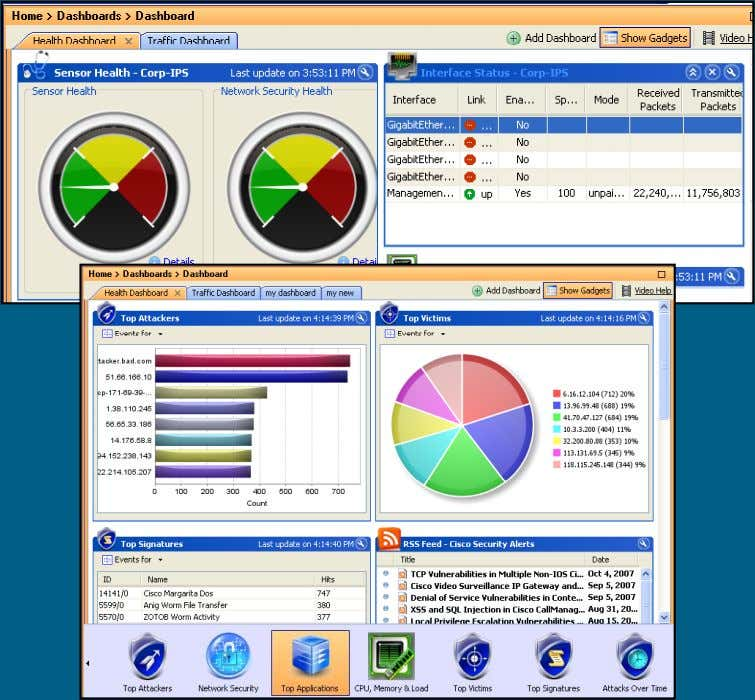 time and historical security events At-a-Glance Dashboard C97-494048-00 © 2008 Cisco Systems, Inc. All rights
